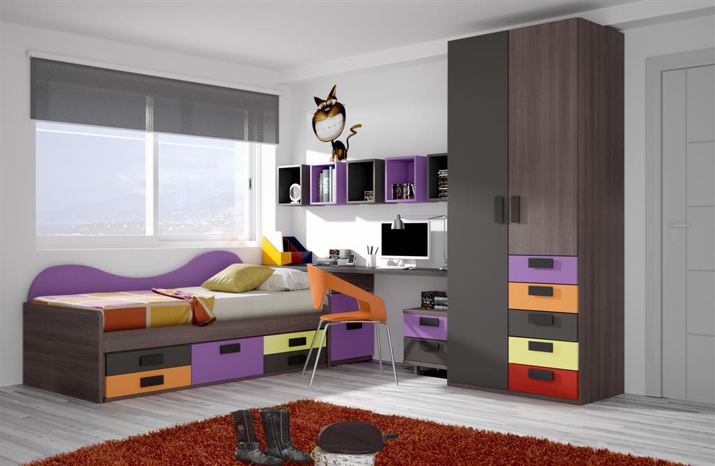 Juvenil con cama y almacenaje conoce nuestros muebles - Camas con almacenaje ...